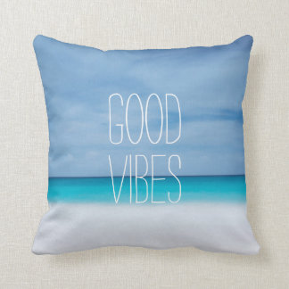 Funny good vibes beach ocean photo hipster throw pillow
