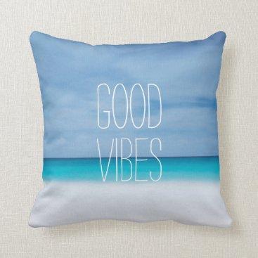 Beach Themed Funny good vibes beach ocean photo hipster throw pillow