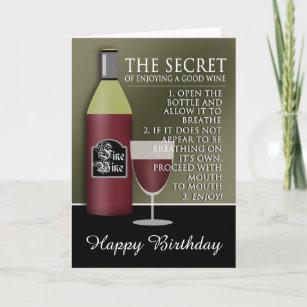 Rose Wine Birthday Cards