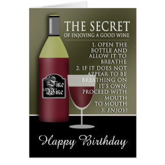 Funny Good Wine Birthday Card