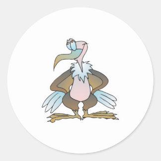 funny goofy buzzard classic round sticker