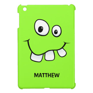 Funny, goofy cartoon face green personalized iPad mini cover