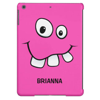 Funny, goofy cartoon face hot pink personalized cover for iPad air