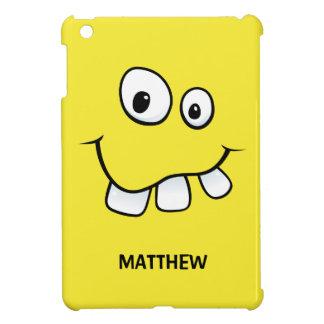 Funny, goofy cartoon face yellow personalized iPad mini cover