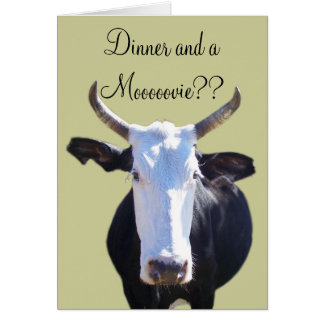 Funny Goofy Dinner and a Movie Moo Cow Invite Greeting Card