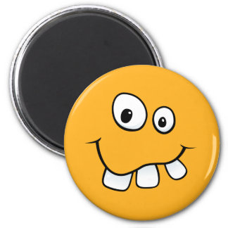 Funny goofy smiley face with big teeth, orange fridge magnet