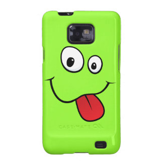 Funny goofy smiley sticking out his tongue, green samsung galaxy s2 cover