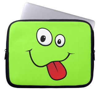 Funny goofy smiley sticking out his tongue, green computer sleeve