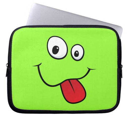 Funny goofy smiley sticking out his tongue, green computer sleeves