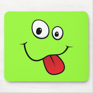 Funny goofy smiley sticking out his tongue, green mouse pad