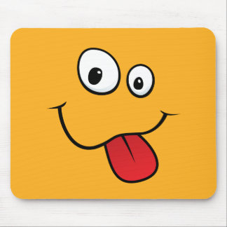 Funny goofy smiley sticking out his tongue, orange mousepads