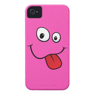 Funny goofy smiley sticking out his tongue, pink iPhone 4 cover