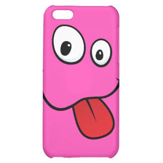 Funny goofy smiley sticking out his tongue, pink iPhone 5C covers