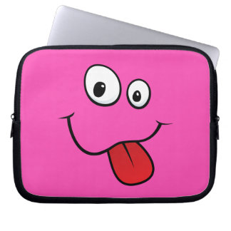 Funny goofy smiley sticking out his tongue, pink laptop sleeve