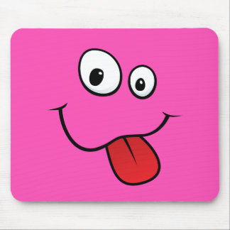 Funny goofy smiley sticking out his tongue, pink mouse pad