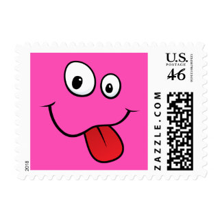 Funny goofy smiley sticking out his tongue pink postage