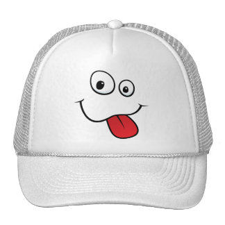 Funny goofy smiley sticking out his tongue trucker hat