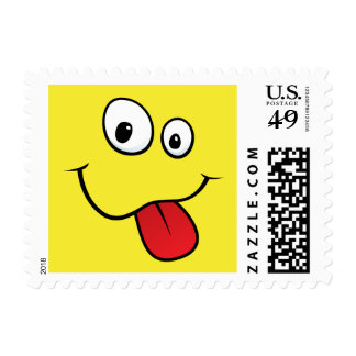 Funny goofy smiley sticking out his tongue, yellow postage
