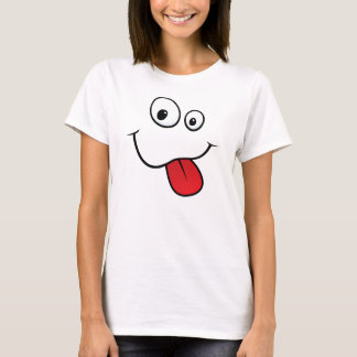 Funny goofy smiley sticking out his tongue, yellow T-Shirt