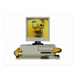 funny goofy winking computer postcard