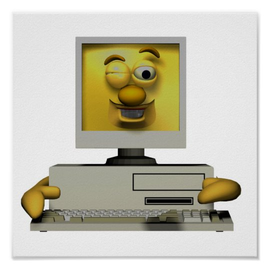 funny goofy winking computer poster