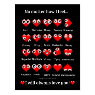Funny, Googly Eyed Hearts, Valentine's Day, Love Postcard