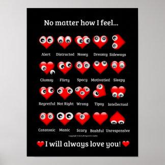 Funny Googly Eyes, Valentine Hearts, I love you Poster