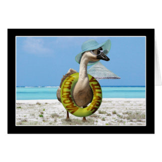 Funny Goose at the Beach Greeting Card