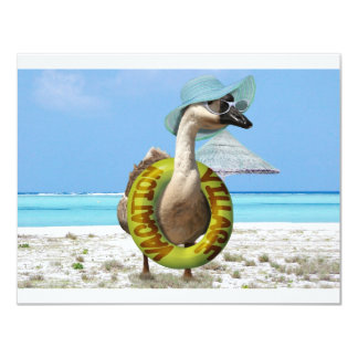 """Funny Goose at the Beach 4.25"""" X 5.5"""" Invitation Card"""
