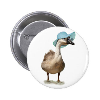Funny Goose with Summer Hat Button