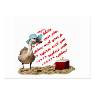 Funny Goose with Summer Hat  Photo Frame Large Business Cards (Pack Of 100)