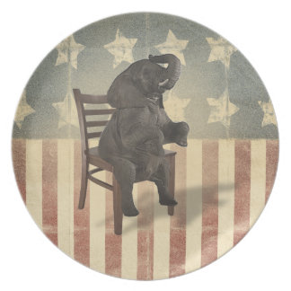 Funny GOP Elephant Takes Presidents Chair Politics Dinner Plate