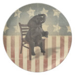 Funny GOP Elephant Takes Presidents Chair Politics Party Plates