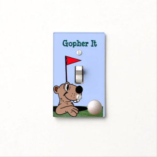 Funny Gopher & Golf Ball on Light Switch Cover