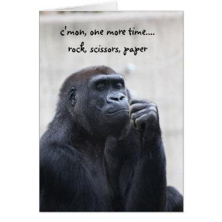 Funny Gorilla Birthday, rock scissors paper Greeting Card