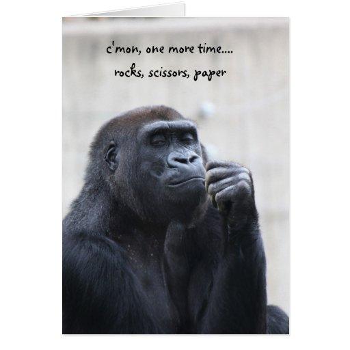 Funny Gorilla Birthday, rocks scissors paper Greeting Cards | Zazzle: www.zazzle.com/funny_gorilla_birthday_rocks_scissors_paper_card...
