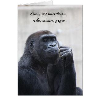 Funny Gorilla Birthday, rocks scissors paper Greeting Card