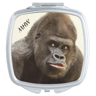 Funny Gorilla custom monogram pocket mirror