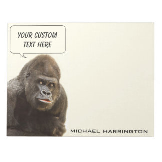 Funny Gorilla custom name notepads