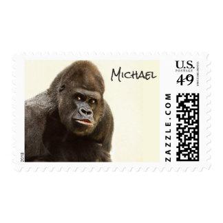 Funny Gorilla custom name postage stamps