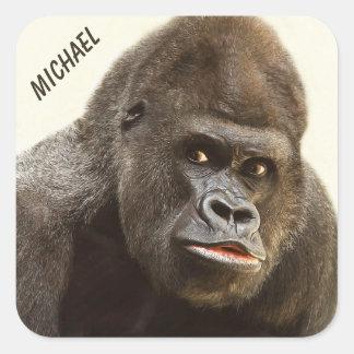 Funny Gorilla custom name stickers