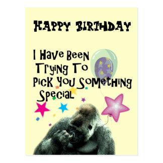 Funny Gorilla Humor Birthday Gift Post Cards