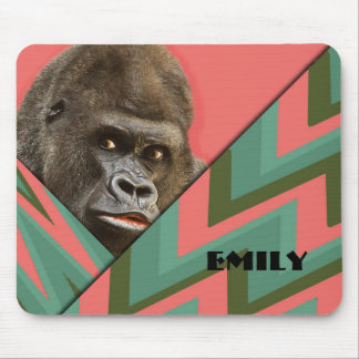 Funny Gorilla Pink Green Chevron Mousepad