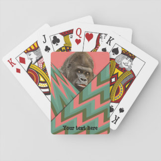 Funny Gorilla Pink Green Chevron Playing Cards