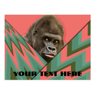 Funny Gorilla Pink Green Chevron Post Card