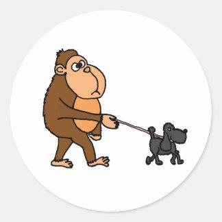 Funny Gorilla Walking Black Poodle Dog Classic Round Sticker