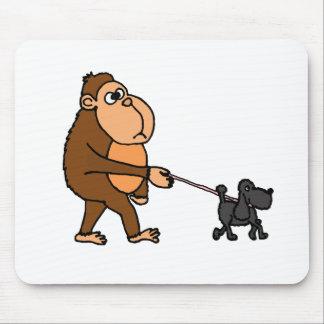 Funny Gorilla Walking Black Poodle Dog Mouse Pad