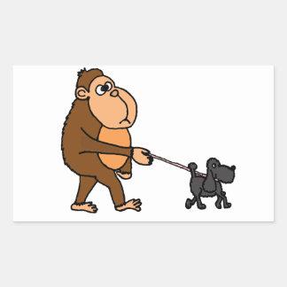 Funny Gorilla Walking Black Poodle Dog Rectangular Sticker