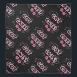 """Funny Got Cats? in Pink and Black Bandana<br><div class=""""desc"""">Great way to express that you&#39;re a cat person! Available in blue and pink with paw prints,  fish on fishing line all in black accents.  Perfect for the cat lover in your life!</div>"""