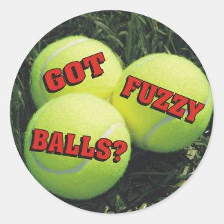 Funny Got Fuzzy Balls? Tennis Classic Round Sticker